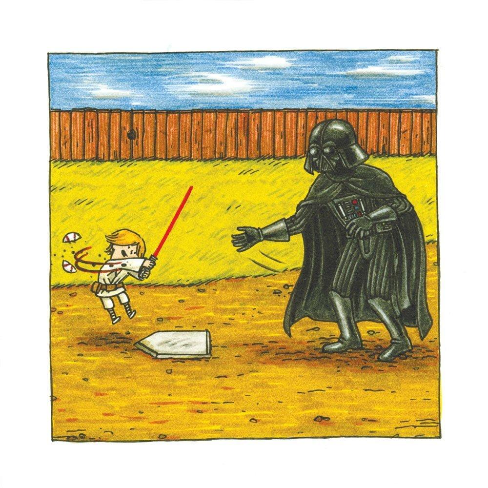 絵本「ダース・ヴェイダーとルーク(4才)」の一コマ