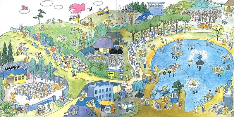 絵本「絵巻えほん 11ぴきのねこマラソン大会」の一コマ