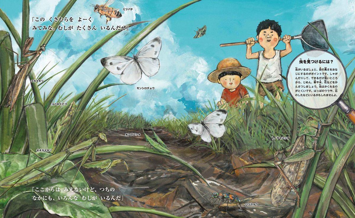 絵本「すごい虫ずかん ひるの虫とよるの虫」の一コマ3