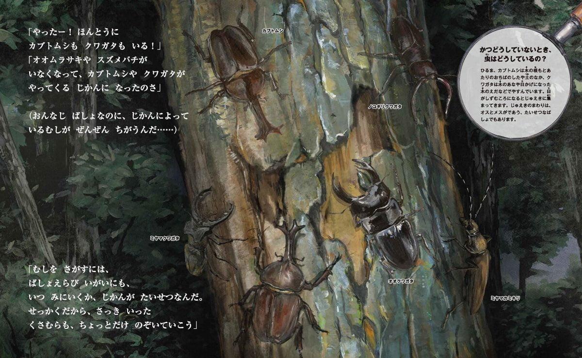 絵本「すごい虫ずかん ひるの虫とよるの虫」の一コマ2