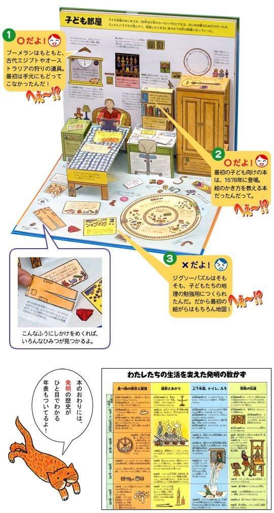 絵本「ポップアップ モノのはじまり へぇ〜!?図鑑」の一コマ2